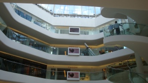One of three linked atriums surrounded by showrooms and stores.