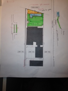 Position of Pool and Garden in relation to the buildings.