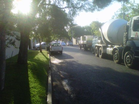 The Concrete Mixing trucks arrived at 5pm and caused just a little chaos.