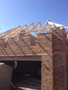 Roof trusses over guest suite above the garage.