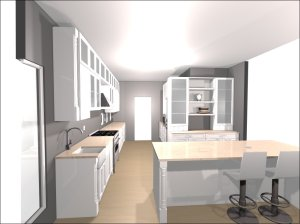 Diagram of the new kitchen, from North to South.