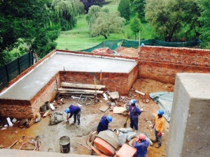 Throwing concrete slab on 'underground' room.