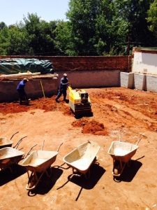 Compacting the front (north) garden.