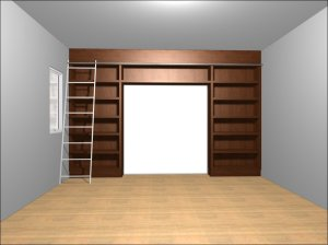 Shelves (white) will surround the sliding doors between the library and living room areas.