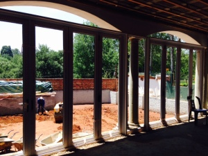 The Patio Stacking Doors in place.