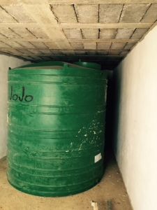 One of two water storage tanks.