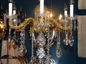Beautiful French Antique chandelier at Delos.   But not right for me.