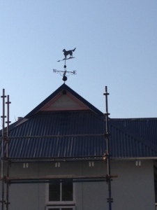 The weathervane is up at last.