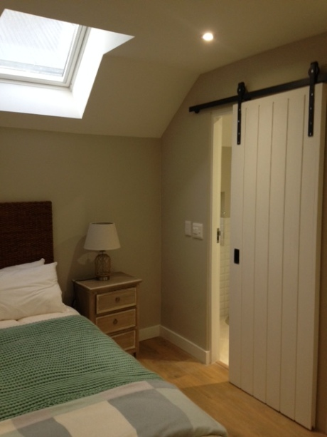 Barn sliding door in guest suite