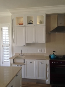 Kitchen display cupboards.