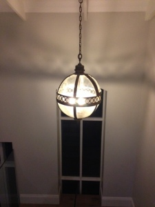 Globe Lantern over our stairwell.